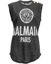 Balmain - Silkscreen Print Medallion Cotton Jersey Top - Lyst