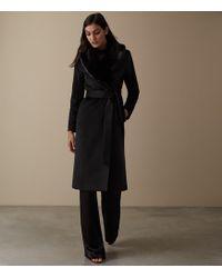 Reiss - Orson - Detachable Faux-fur Collar Coat - Lyst