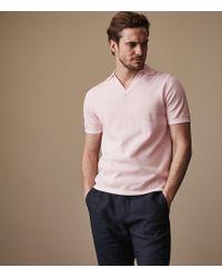 Reiss - Filippo - Open Collar Polo Shirt - Lyst