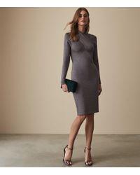 Reiss - Alethia - Metallic Twist Neck Knitted Dress - Lyst