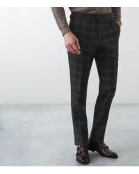 Reiss - Trekker - Slim Fit Brushed Checked Trousers - Lyst
