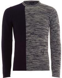 Armani Jeans - Two Tone Knit Wool Blend Navy Jumper - Lyst