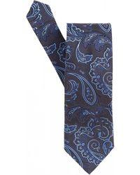 Etro - Paisley Jaquard Navy Blue Tie - Lyst