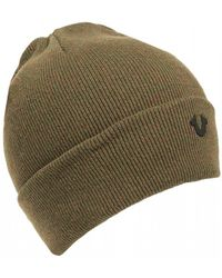 True Religion - Metal Logo Olive Green Beanie Hat - Lyst