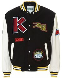 KENZO - Logo-patch Wool-blend Melton Varsity Jacket - Lyst
