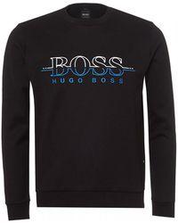 BOSS - Salbo Sweatshirt, Split Logo Slim Fit Black Sweat - Lyst