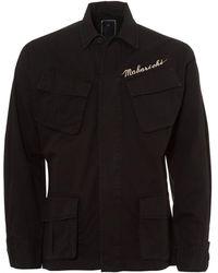 Maharishi - Jungle Jacket, Embroidered Logo Black Overshirt - Lyst