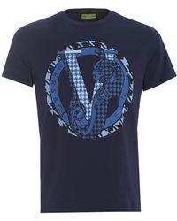 Versace Jeans - Navy T-shirt, Regular Fit Circular Panther Logo Tee - Lyst