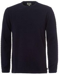 Armani - Waffle Knit Jumper, Crew Neck Navy Sweater - Lyst
