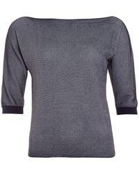 Armani - Slash Neck Jumper, Striped Black White Top - Lyst