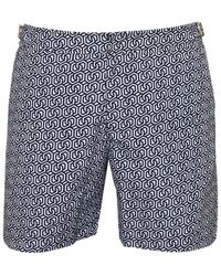 Orlebar Brown - Bulldog Themis Geometric Swim Shorts, Navy White Swimming Trunks - Lyst