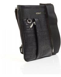 Versace Jeans - All Over Logo Print Black Stash Bag - Lyst