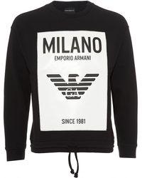 Emporio Armani - Milano City Rubberised Panel Sweatshirt, Black Sweat - Lyst