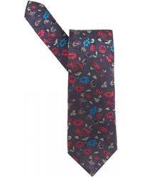 Etro - Small Floral Print Navy Blue Tie - Lyst