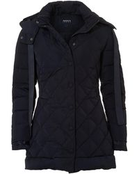 Armani Jeans - 3/4 Length Diamond Quilt Navy Puffa Jacket - Lyst