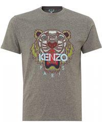 KENZO - Tiger T-shirt, Crew Neck Dove Grey Tee - Lyst