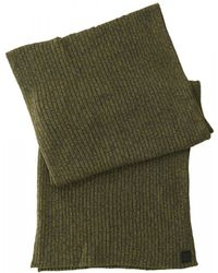 BOSS - Ariffeno Ribbed Mouliné Cotton Blend Olive Green Scarf - Lyst