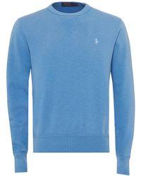 Ralph Lauren - Plain Logo Sweatshirt, Blue Crew Neck Sweat - Lyst