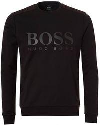 BOSS Athleisure - Salbo Sweat, Large Logo Black Sweatshirt - Lyst