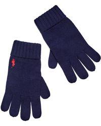 Ralph Lauren - Navy Blue Ribbed Wool Gloves - Lyst