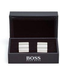 BOSS - Percy Twin Tonal Lines Silver Cufflinks - Lyst