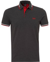 BOSS Athleisure - Paul Polo Shirt, Slim Fit Thin Tipped Black Polo - Lyst