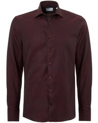 Stenstroms - Pin Dot Slimline Long Sleeve Burgundy Shirt - Lyst