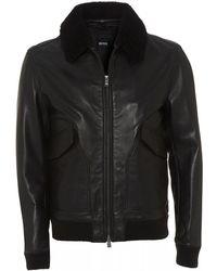 8d9c5a90462 BOSS - Gordani Black Leather Bomber Jacket - Lyst