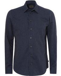 Armani - Modern Regular Fit Fine Silver Stripe Pattern Navy Shirt - Lyst