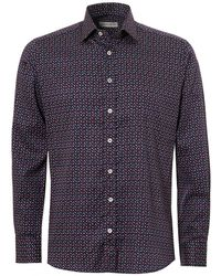 Etro - Micro Floral Print Regular Fit Navy Multi Shirt - Lyst