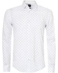 BOSS Ronni 53f Two Tone Dot Shirt - White
