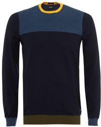 BOSS Black | Decio Knit, Multi Panelled Navy Blue Yellow Jumper | Lyst