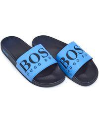 BOSS Athleisure - Solar Slide Sandals, Blue Sliders - Lyst