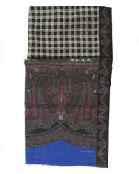 Etro | Paisley And Checked Print Black Scarf | Lyst