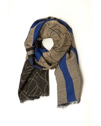 Armani Jeans - Shawl, Tartan Heart Grey Blue Scarf - Lyst