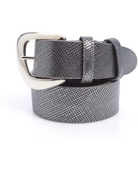 Elliot Rhodes - Silver Metallic Textured Saffiano Leather Belt - Lyst