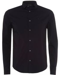 Emporio Armani - Canvas Cotton Shirt, Navy Blue Stretch Shirt - Lyst