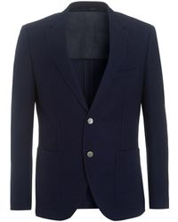 BOSS - Janson Navy Regular Fit Wool Textured Jacket - Lyst