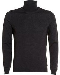 BOSS Black - Musso Roll Polo Neck Knit Sweater, Charcoal Grey Merino Sweater - Lyst
