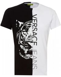e17127a64 Versace Jeans - Split Tiger Graphic T-shirt, White Slim Fit Tee - Lyst