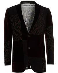Etro - Patchwork Blazer, Two Button Burgundy Jacket - Lyst