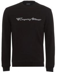 Emporio Armani - Script Logo Sweatshirt, Regular Fit Black Sweat - Lyst