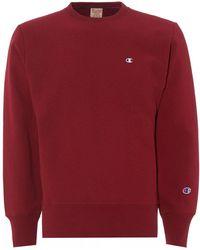 Champion - Small Logo Sweatshirt, Burgundy Crew Neck Sweat - Lyst