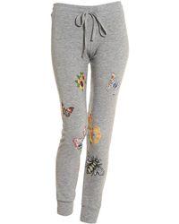Lauren Moshi - Kizzy Grey Trackpants, Flower Graphic Print Joggers - Lyst