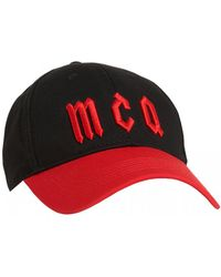 McQ - Logo Baseball Hat, Black Red Cotton Cap - Lyst
