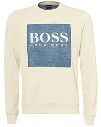 BOSS - Wedford Sweatshirt, Denim Patch White Sweat - Lyst