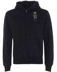 Ralph Lauren - Bear Polo Zip Hoodie, Navy Blue Hooded Sweatshirt - Lyst