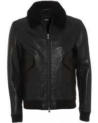 BOSS Gordani Black Leather Bomber Jacket