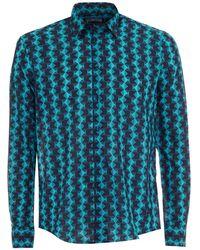 Vilebrequin - Blue Turquoise Geometric Fish Shirt - Lyst