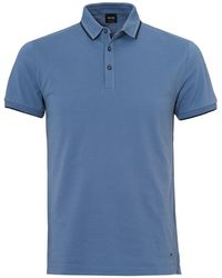 BOSS Orange   Payout Polo, Sky Blue Stitched Polo Shirt   Lyst